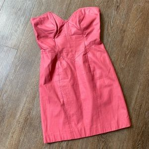 Vintage 💕Pink 100% Leather Fitted Strapless Dress
